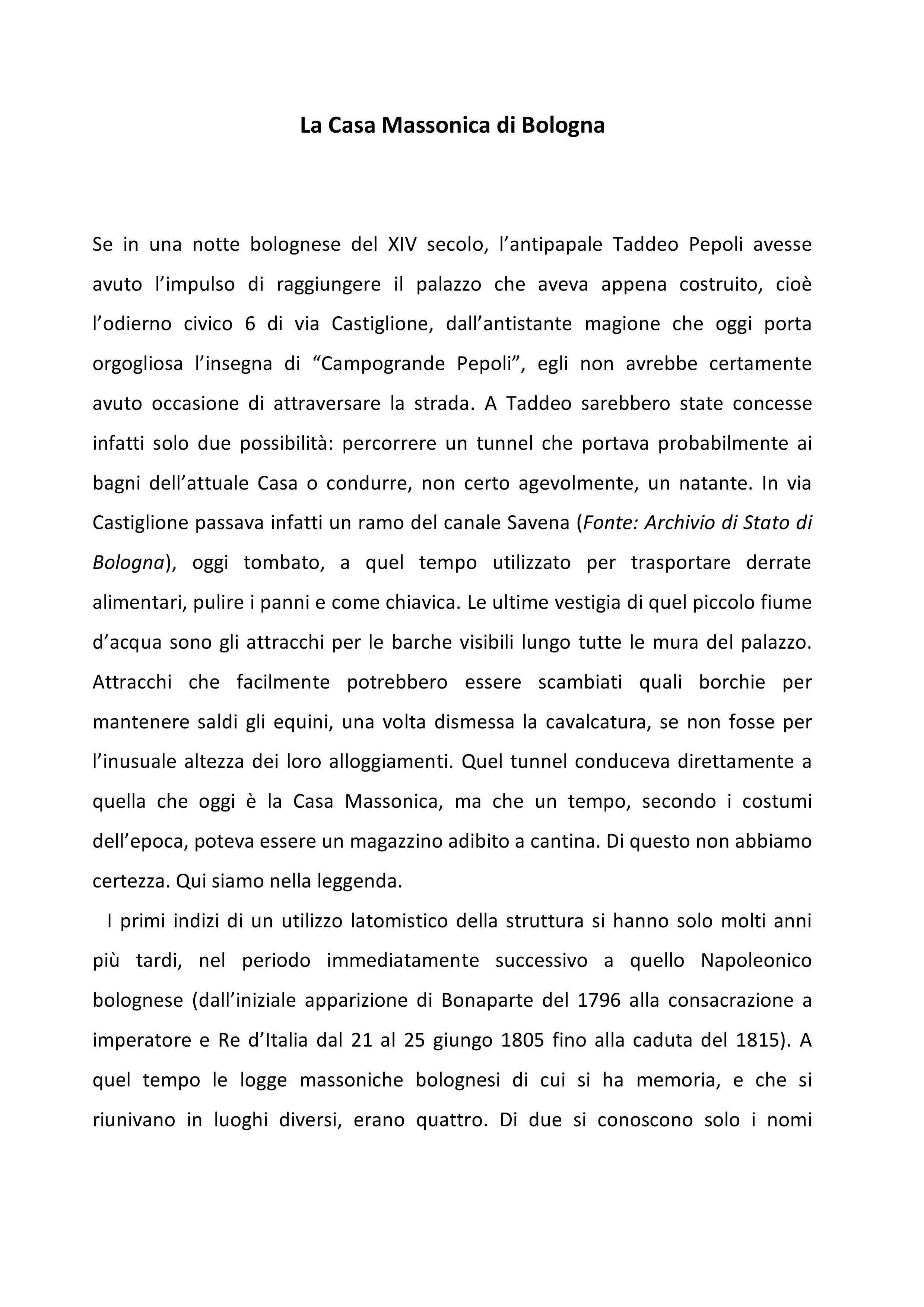 La storia della Casa Massonica di Bologna